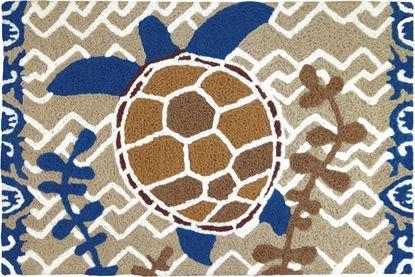 Jellybean Brown & Blue Turtle Coastal Decor 21 x 33 in Washable Accent Rug