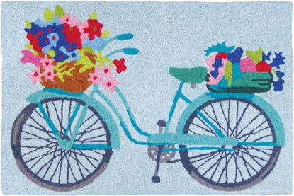 Jellybean Flower Basket On Bicycle Garden Decor 21 x 33 in Washable Accent Rug