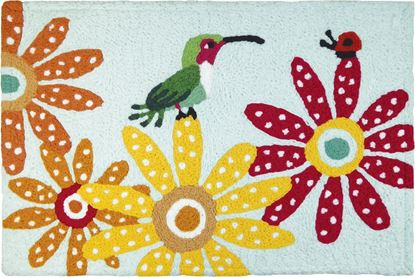 Jellybean Hummingbird & Ladybug Garden Decor 21 x 33 in Washable Accent Rug