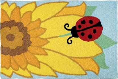 Jellybean Ladybug On Sunflower Garden Decor 21 x 33 in Washable Accent Rug