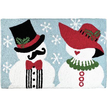 Mr & Mrs Snowman Jellybean Holiday Accent Rug